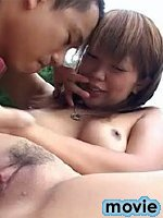 Horny asian chick fucks outdoors